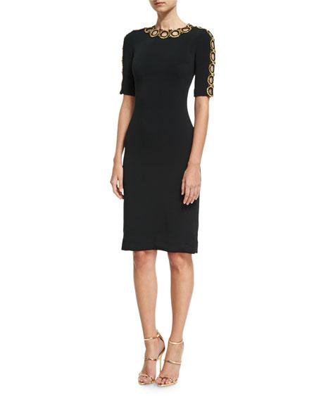 Jenny Packham Half-Sleeve Beaded Cutout Cocktail Dress