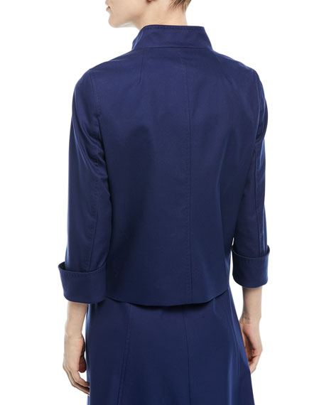 Button-Front 3/4-Sleeve Cotton Pique Jacket