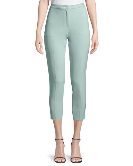Escada Talaranto Straight-Leg Ankle Crepe Pants