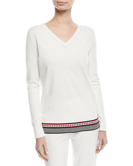 Escada V-Neck Long-Sleeve Pullover Top with Contrast Trim
