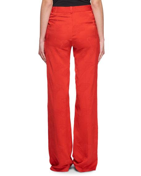 Wide-Leg Floral-Jacquard Pants