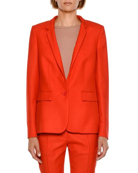 Fleur Stand-Collar One-Button Jacket