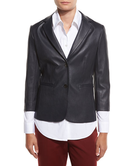 Nolbon Leather Two-Button Jacket, Navy
