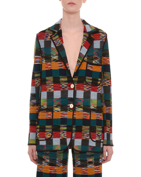 Two-Button Allover Patchwork Wool Jacket