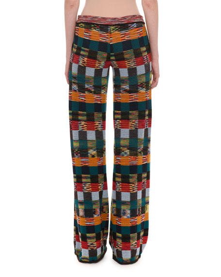 Pull-On Patchwork Wool Wide-Leg Pants
