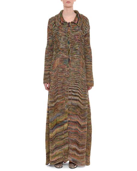 Multicolor Button-Front Long Wool Coat