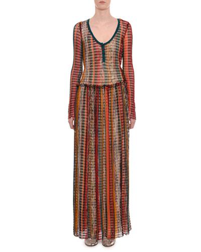 Scoop-Neck Long-Sleeve Multicolor Mesh  Long Dress