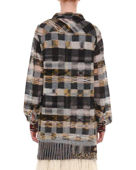 Long-Sleeve Button-Front Mohair-Alpaca Shirt