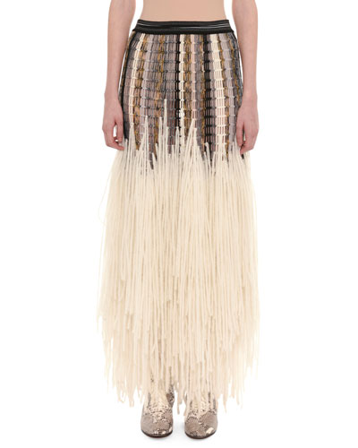 Mesh Top Yarn-Fringe Wool-Blend Long Skirt