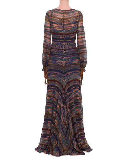 Deep-V Long-Sleeve Elastic Cuff Metallic-Stripe Long Dress