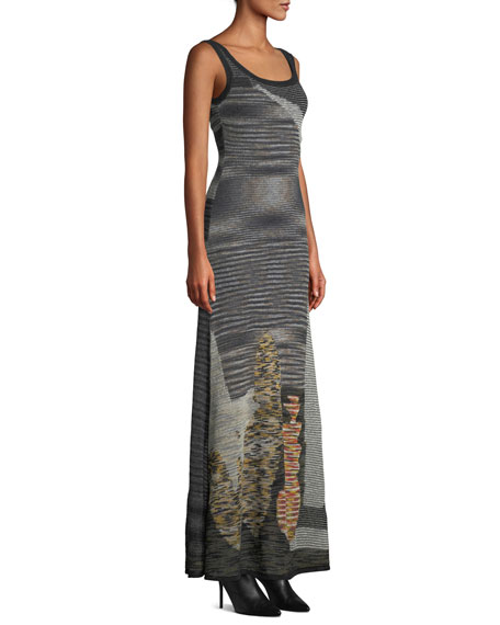 Scoop-Neck Sleeveless Animal-Intarsia Semisheer Mohair-Alpaca Long Dress