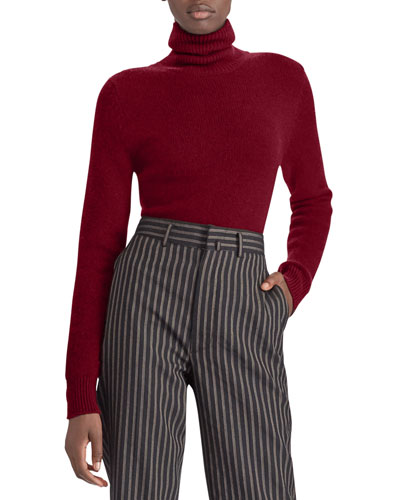 Turtleneck Long-Sleeve Cashmere Pullover Sweater