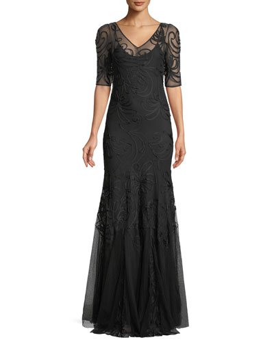 V-Neck Short-Sleeve Trumpet Embroidered Evening Gown