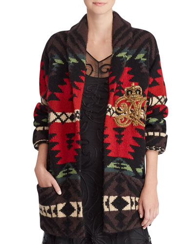 Shawl-Collar Intarsia Cashmere-Wool Cardigan w/ Embroidered Crest Detail