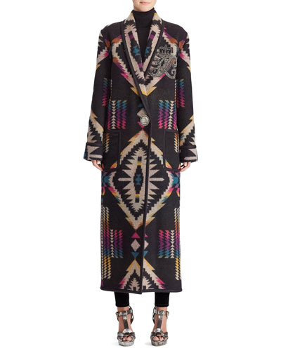 Sauville Embellished One-Button Tapestry-Intarsia Long Coat