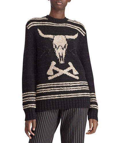 Steer Head Embroidered Crewneck Cashmere-Linen Sweater