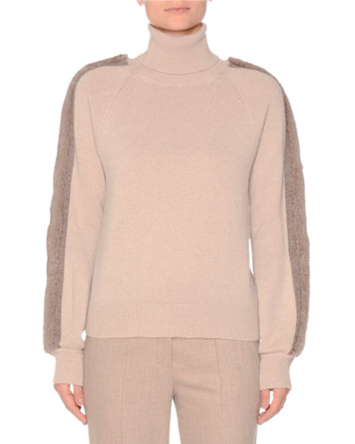 Turtleneck Cashmere Sweater with Mink