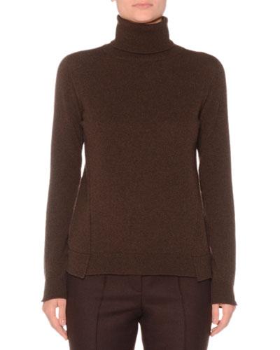 Eternal Cashmere Long-Sleeve Turtleneck Sweater, Brown