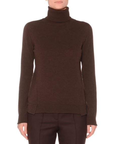 Eternal Cashmere Long-Sleeve Turtleneck Sweater, Brown
