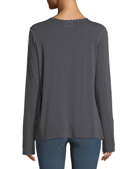 Crewneck Long-Sleeve Topstitch T-Shirt w/ M.I.N.E on Arm