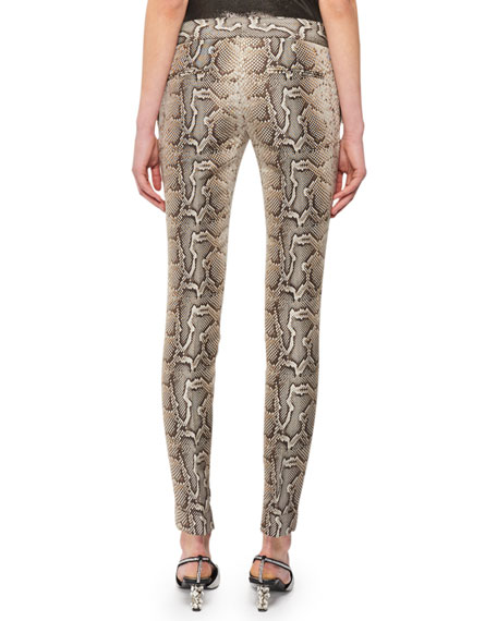 Snake-Print Stretch-Cotton Twill Skinny Pants