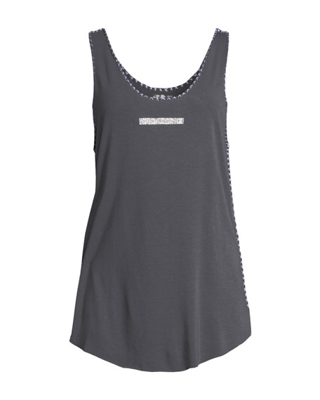 Scoop-Neck Crystal-Beaded Bar Relaxed Bamboo Tank Top