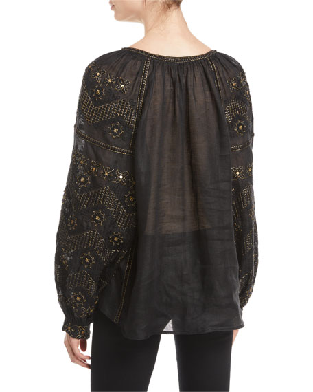 Mina Long-Sleeve Beaded-Embroidered Linen Peasant Blouse