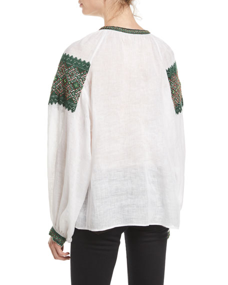 Mirror Beaded Embroidered Linen Peasant Blouse