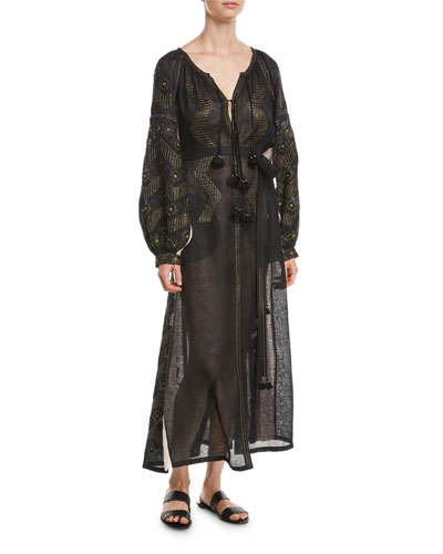 Mina Split-Neck Long-Sleeve Embroidered Linen Dress w/ Insets
