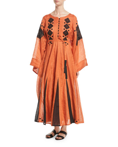 Mirror Round-Neck Flared-Sleeves Beaded-Embroidered Long Linen Dress w/ Godet Insets