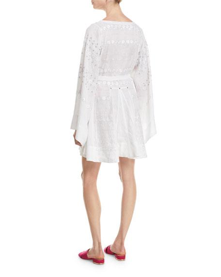 Byzantium Round-Neck Flared-Sleeve Embroidered Linen Mini Dress