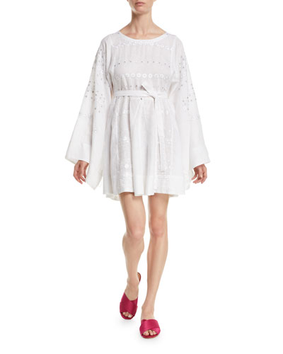 Byzantium Round-Neck Flared-Sleeve Embroidered Linen Mini Dress