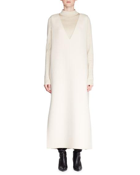 Neila Deep-V Sleeveless A-Line Cashmere-Blend Long Dress