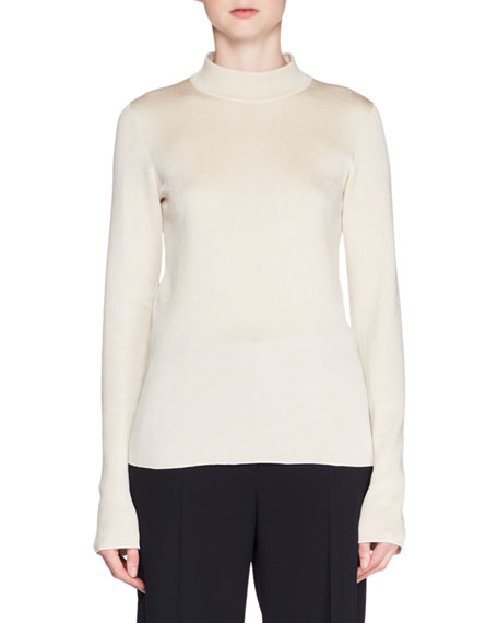 Jalin Mock-Neck Long-Sleeve Silk Top