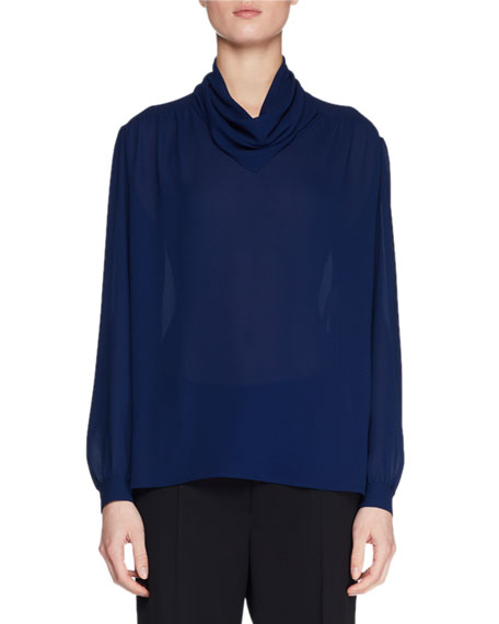 Runa Cowl-Neck Long-Sleeve Silk Top