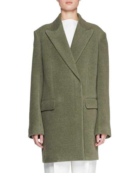Mewey Peak-Lapel Button-Front Wool-Blend Coat