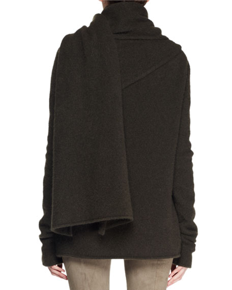 Merriah Scarf-Neck Long-Sleeve Cashmere-Blend Sweater
