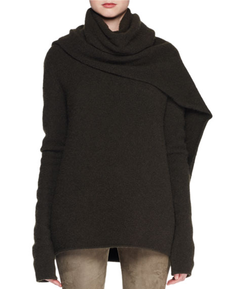 THE ROW Merriah Scarf-Neck Long-Sleeve Cashmere-Blend Sweater