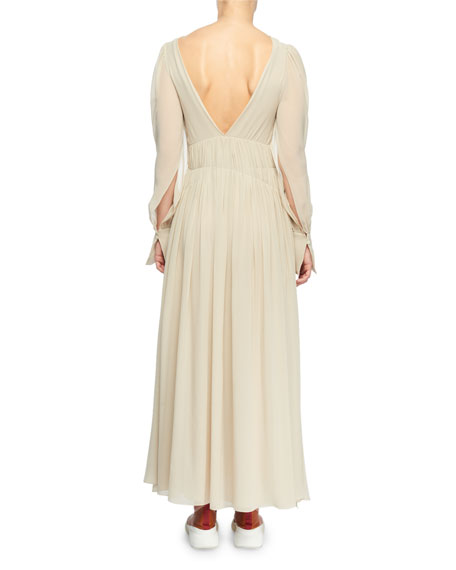 Deep-V Smocked Empire-Waist Silk Long Dress
