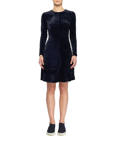 Side Lacing Crewneck Long-Sleeve Fitted A-Line Velvet Short Dress
