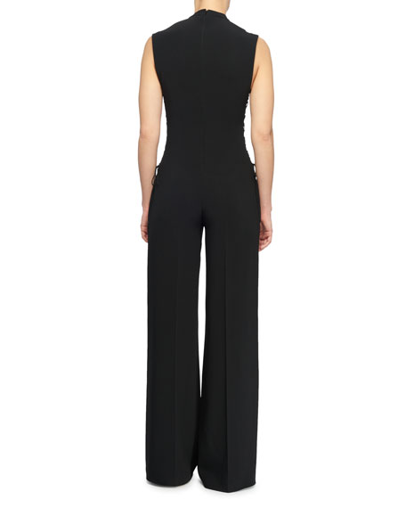 Mock-Neck Sleeveless Lace-Up Sides Wide-Leg Jumpsuit
