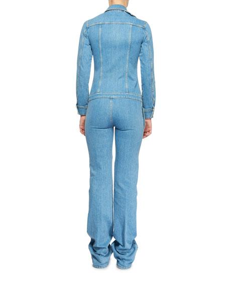 Long-Sleeve Button-Front Denim Straight-Leg Jumpsuit