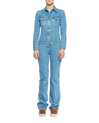 Long-Sleeve Button-Front Denim Straight-Leg Jumpsuit