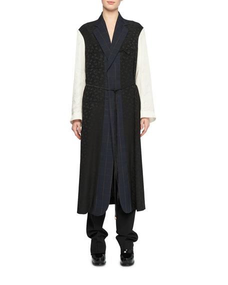 Oversized Mixed-Media Belted Robe-Style Coat