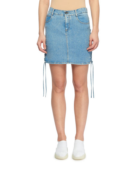 Side Lace-Up A-Line Mini Denim Skirt