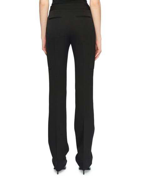 Flat-Front Straight-Leg Wool Pants w/ Elongated Pockets