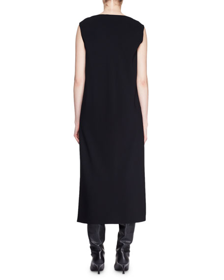 Bella Boat-Neck Sleeveless Long Shift Dress