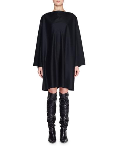 Harper High-Neck Dolman-Sleeve Shift Knee-Length Wool Dress