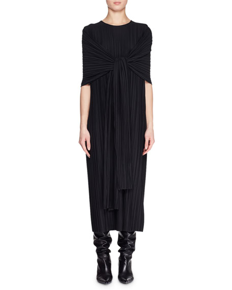 Lisse Crewneck Tie-Front Plisse Long Dress