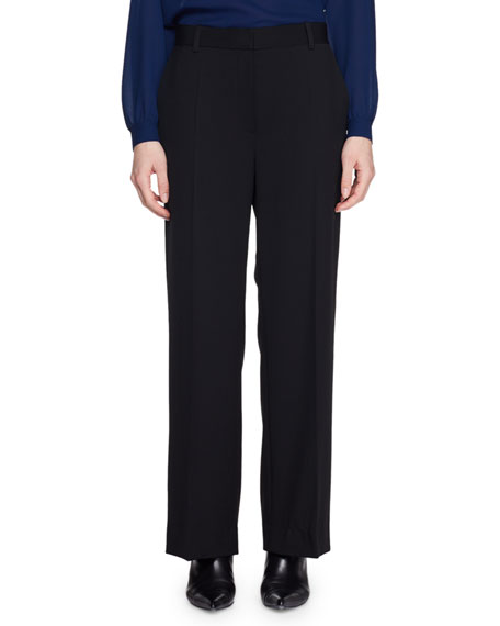 THE ROW Ina Mid-Rise Straight-Leg Wool Pants